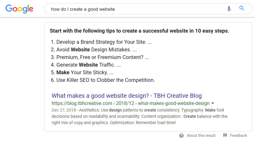 Google featured snippet example - how do I create a good web design?
