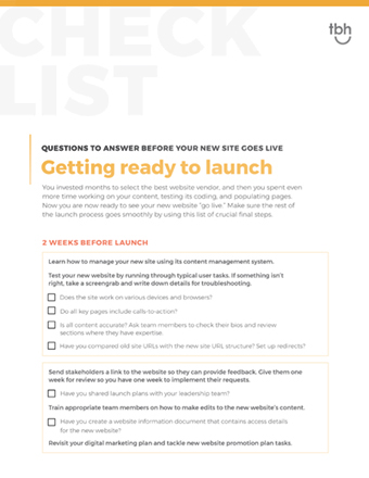 Website launch checklist cover