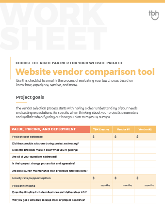 Website vendor comparison worksheet cover