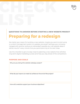 Website redesign preparation checklist cover