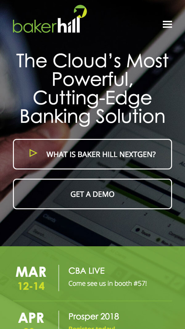 Baker Hill homepage mobile web design