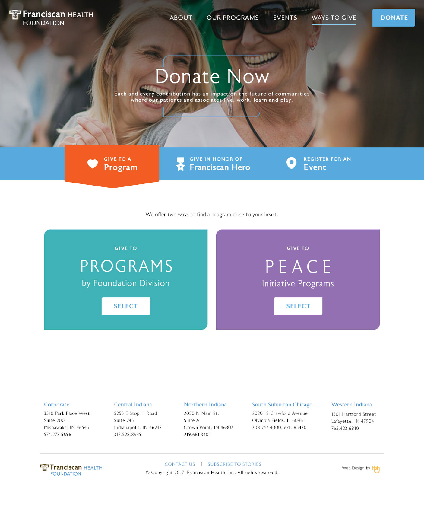 Franciscan Health Foundation Program Donation web page