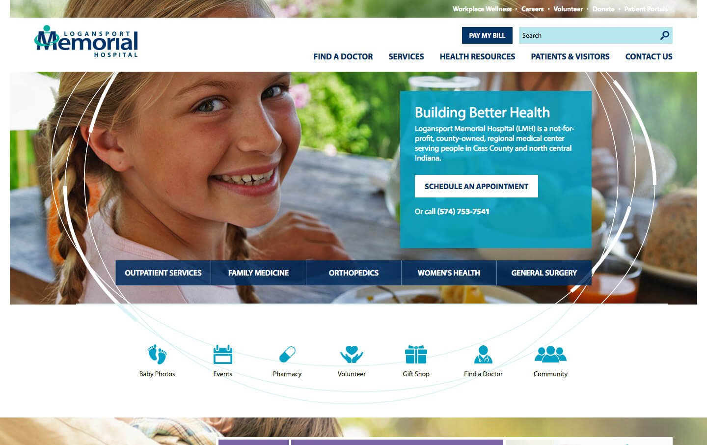 Logansport Memorial Hospital website preview