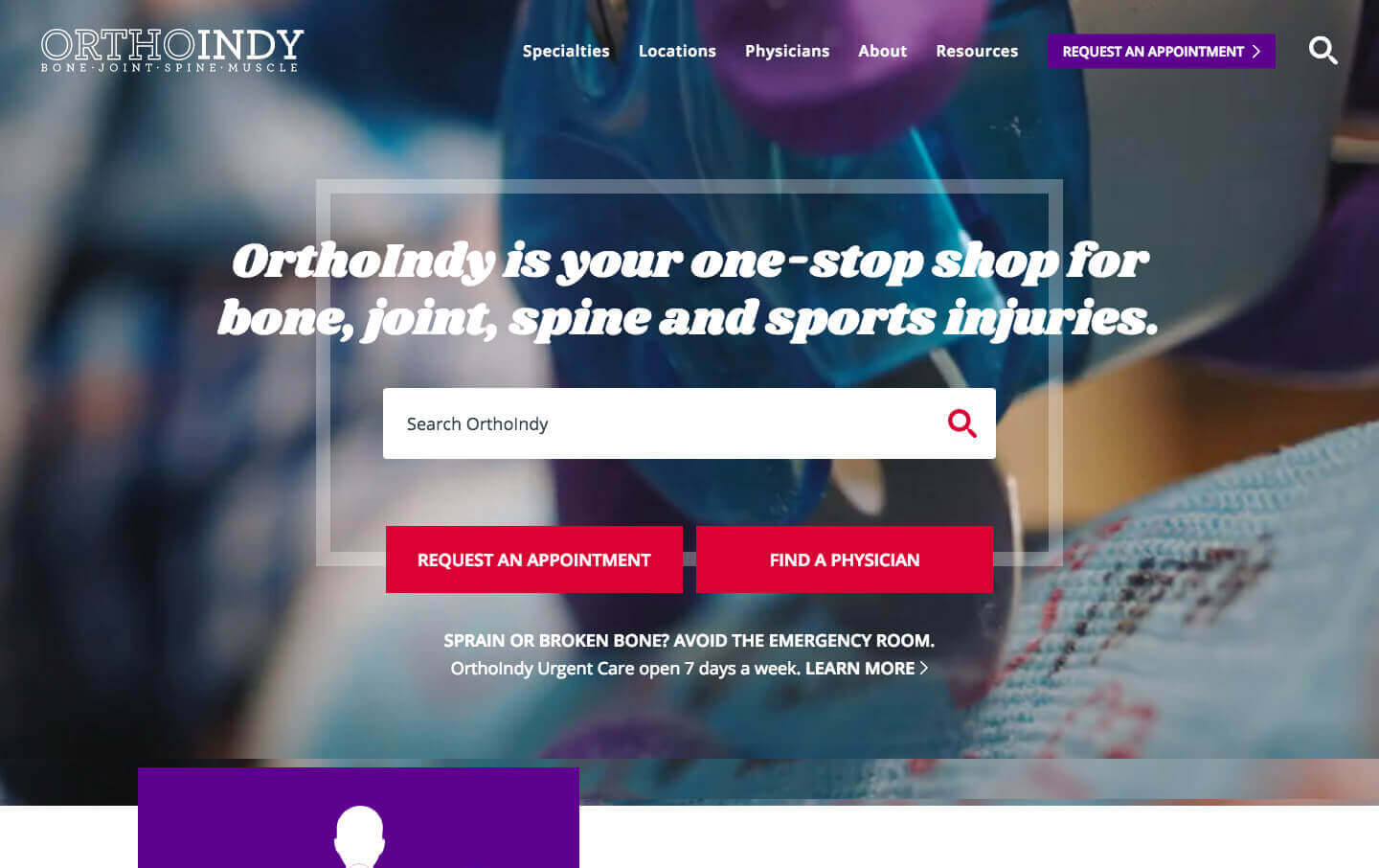 OrthoIndy desktop website homepage preview