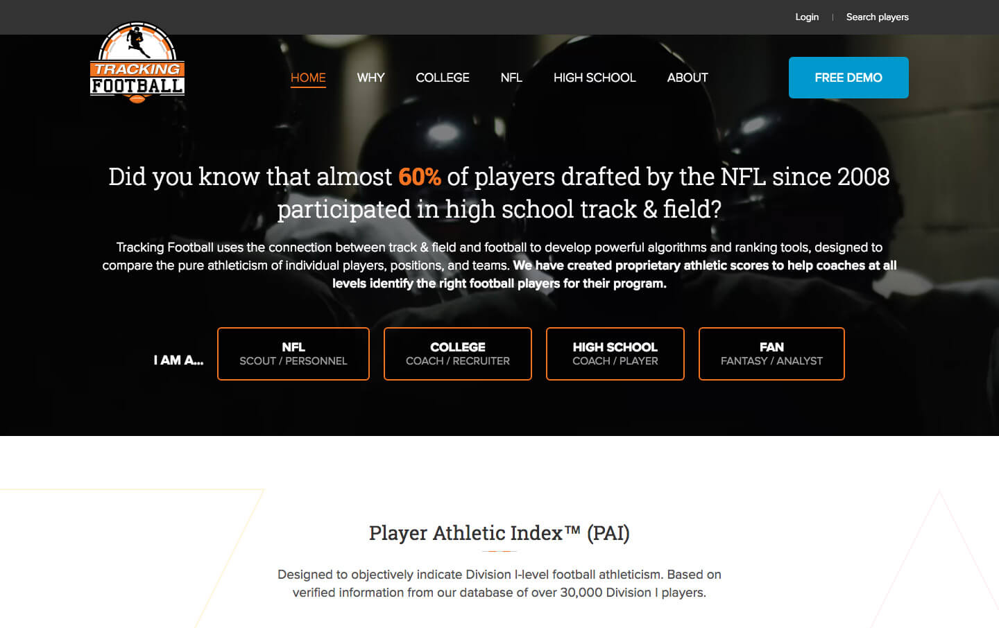 Tracking Football desktop homepage web design
