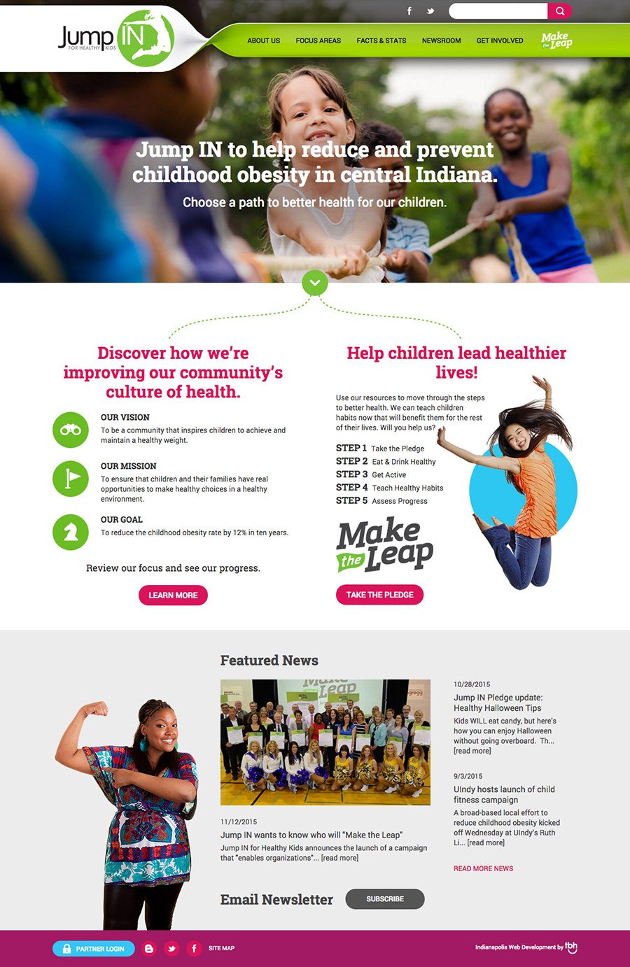 Jump In for Healthy Kids desktop homepage web design