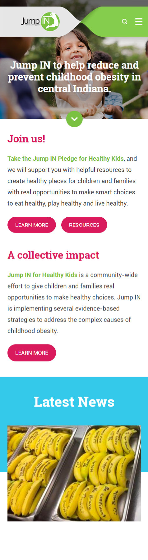 Jump In for Healthy Kids homepage mobile web design