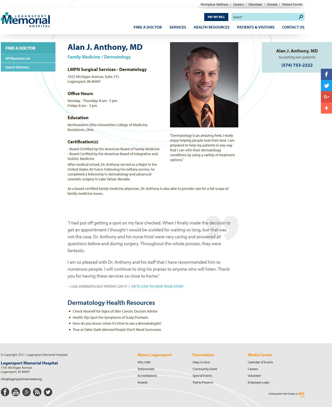 Physician Profile Page