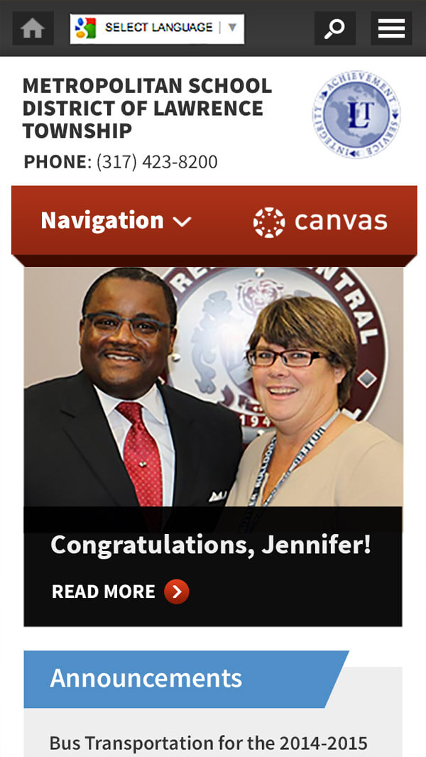 Metropolitan School District of Lawrence Township homepage mobile web design