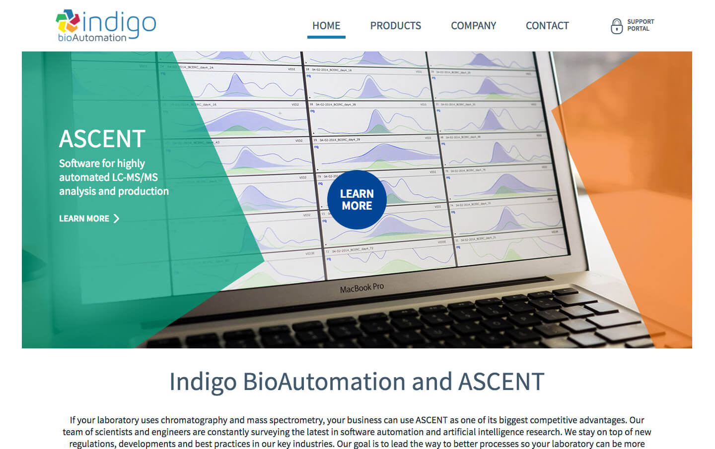 Indigo BioAutomation desktop homepage web design