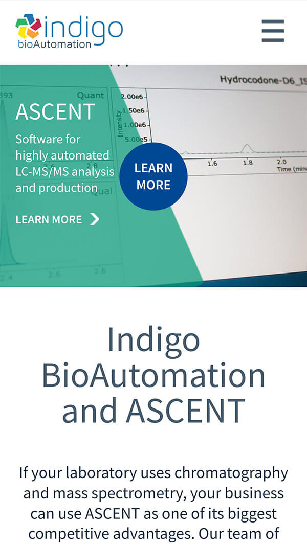 Indigo BioAutomation homepage mobile web design