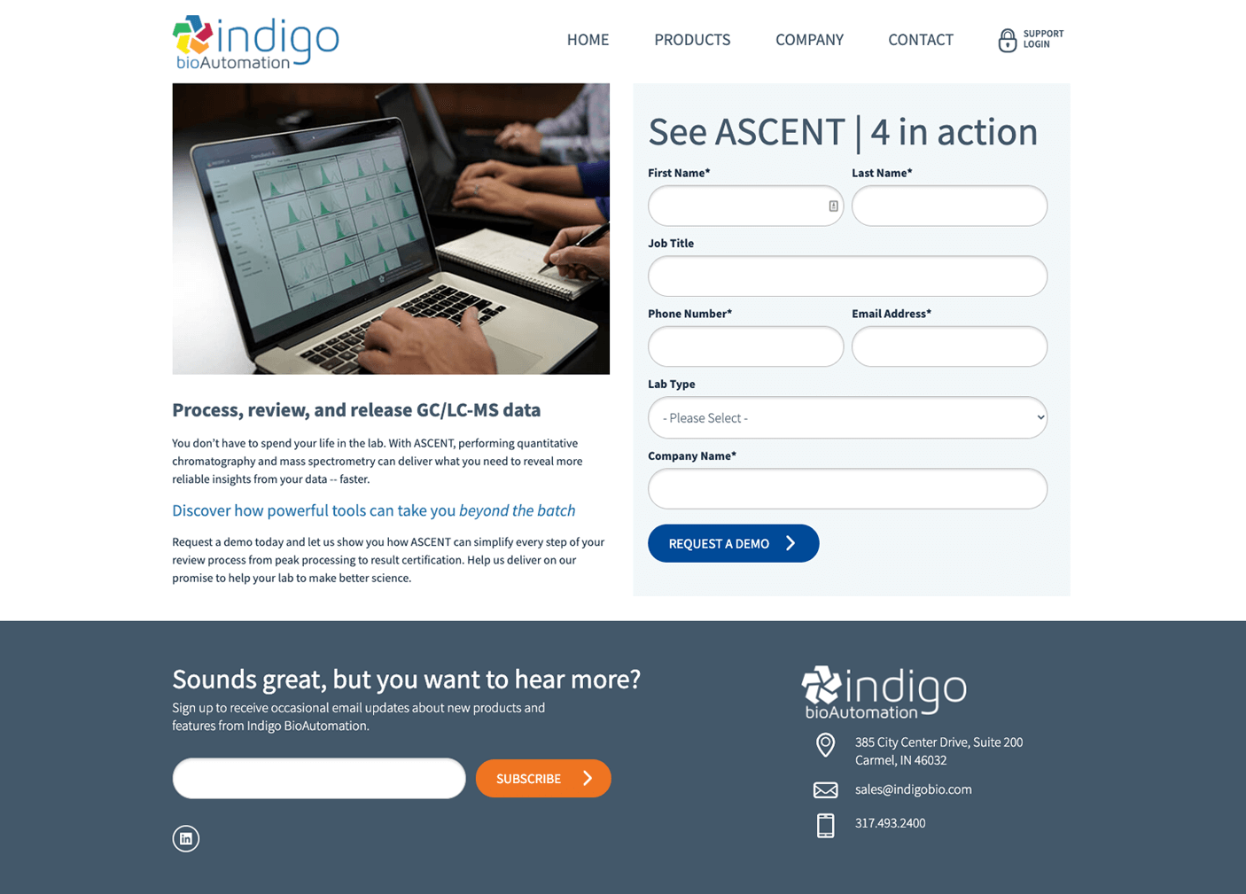 Request a Demo form web page