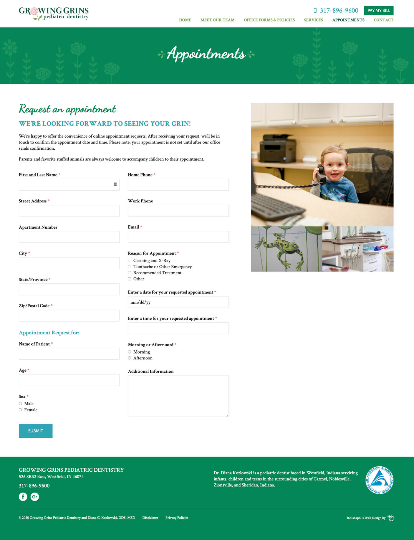Pediatric Dentistry online appointment form web page