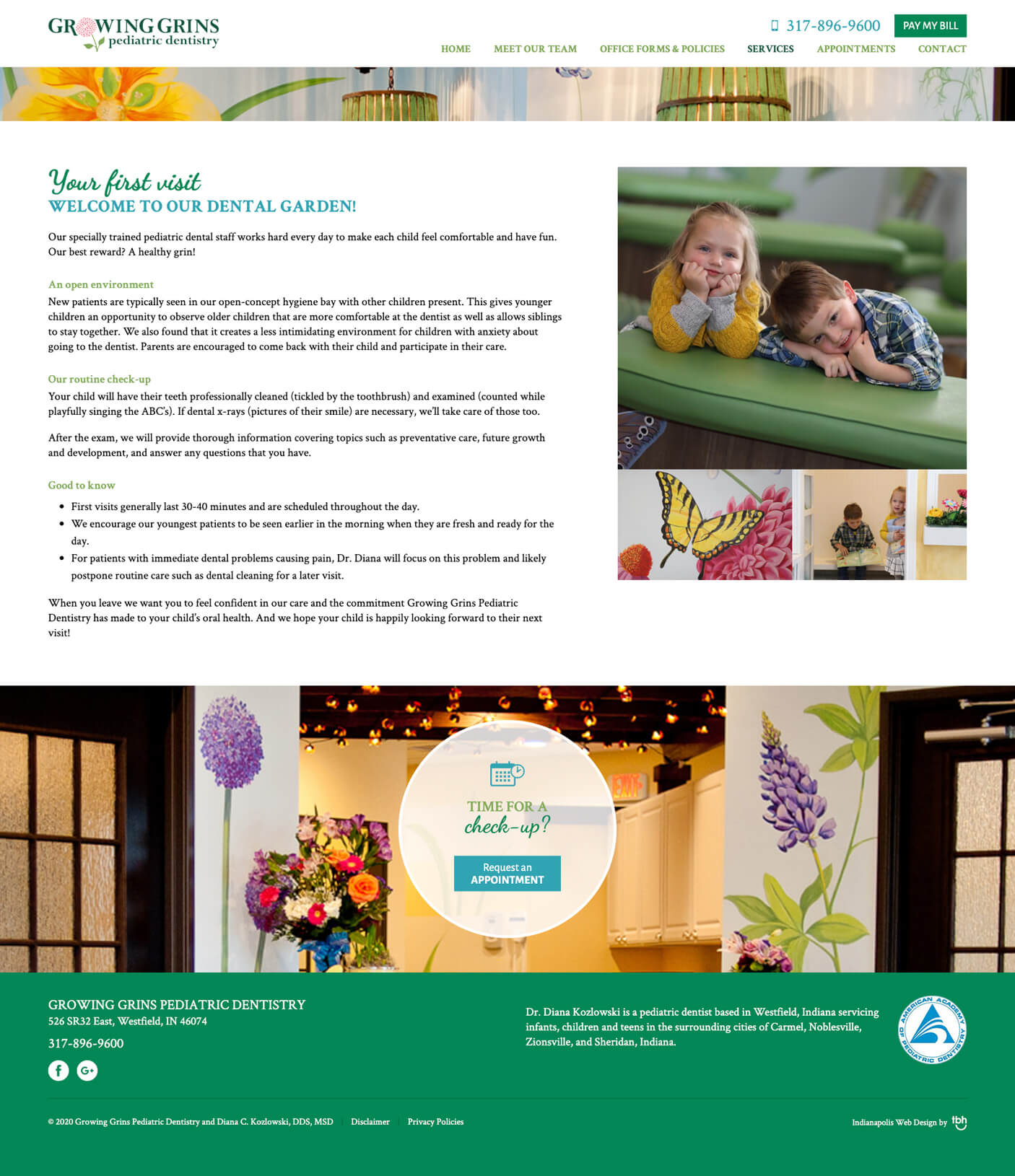 Pediatric Dentistry First Visit web page