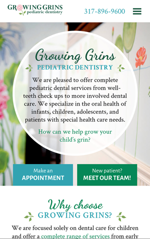 Growing Grins Pediatric Dentistry homepage mobile web design
