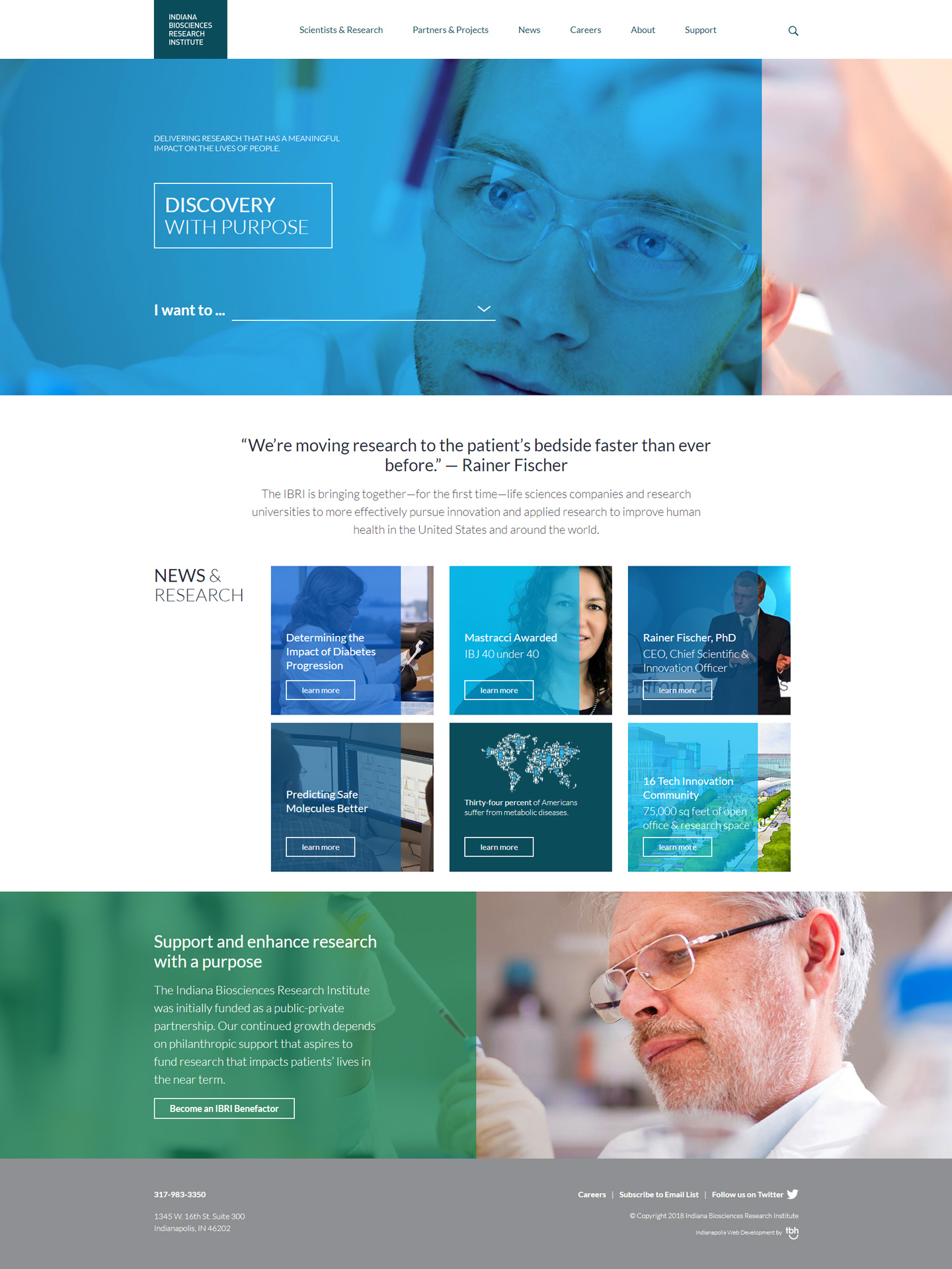 IBRI desktop homepage web design