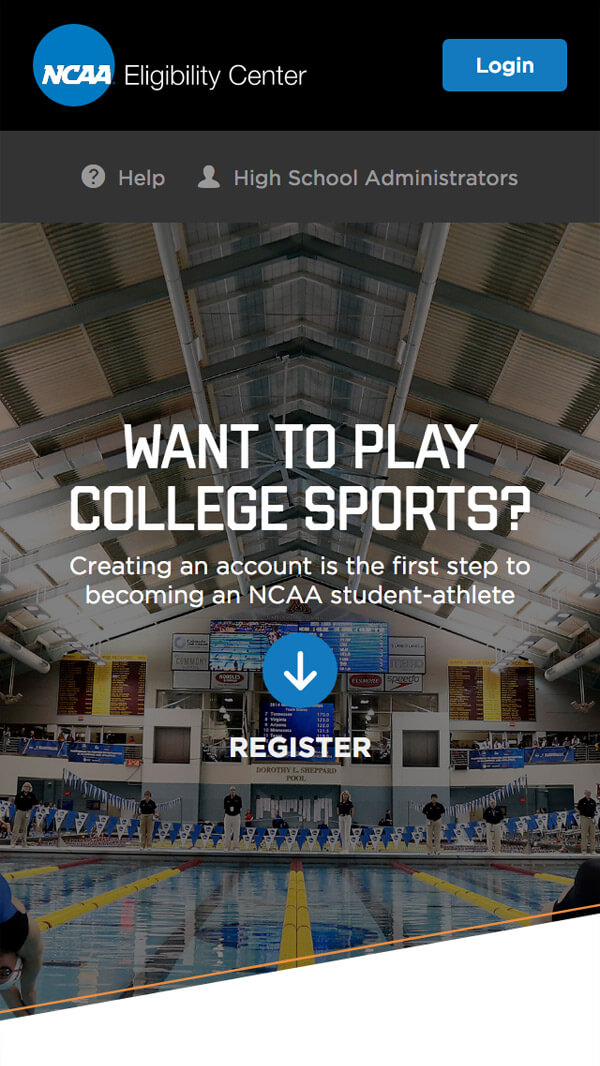 NCAA Eligibility Center homepage mobile web design