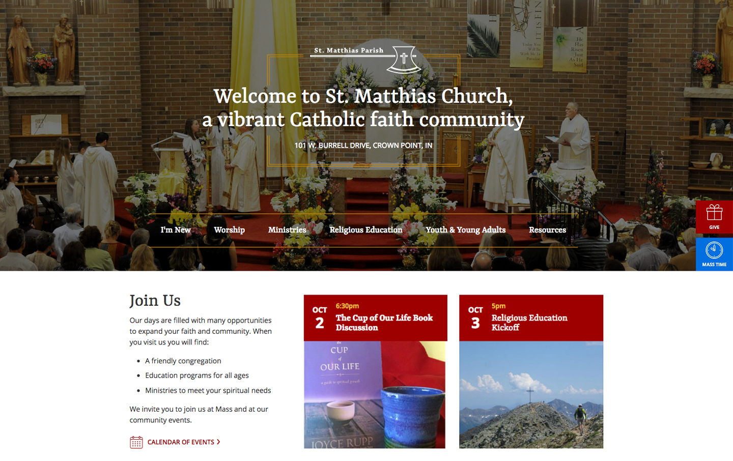 St. Matthias homepage desktop web design