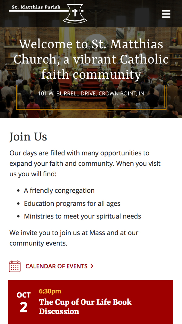 St. Matthias homepage mobile web design