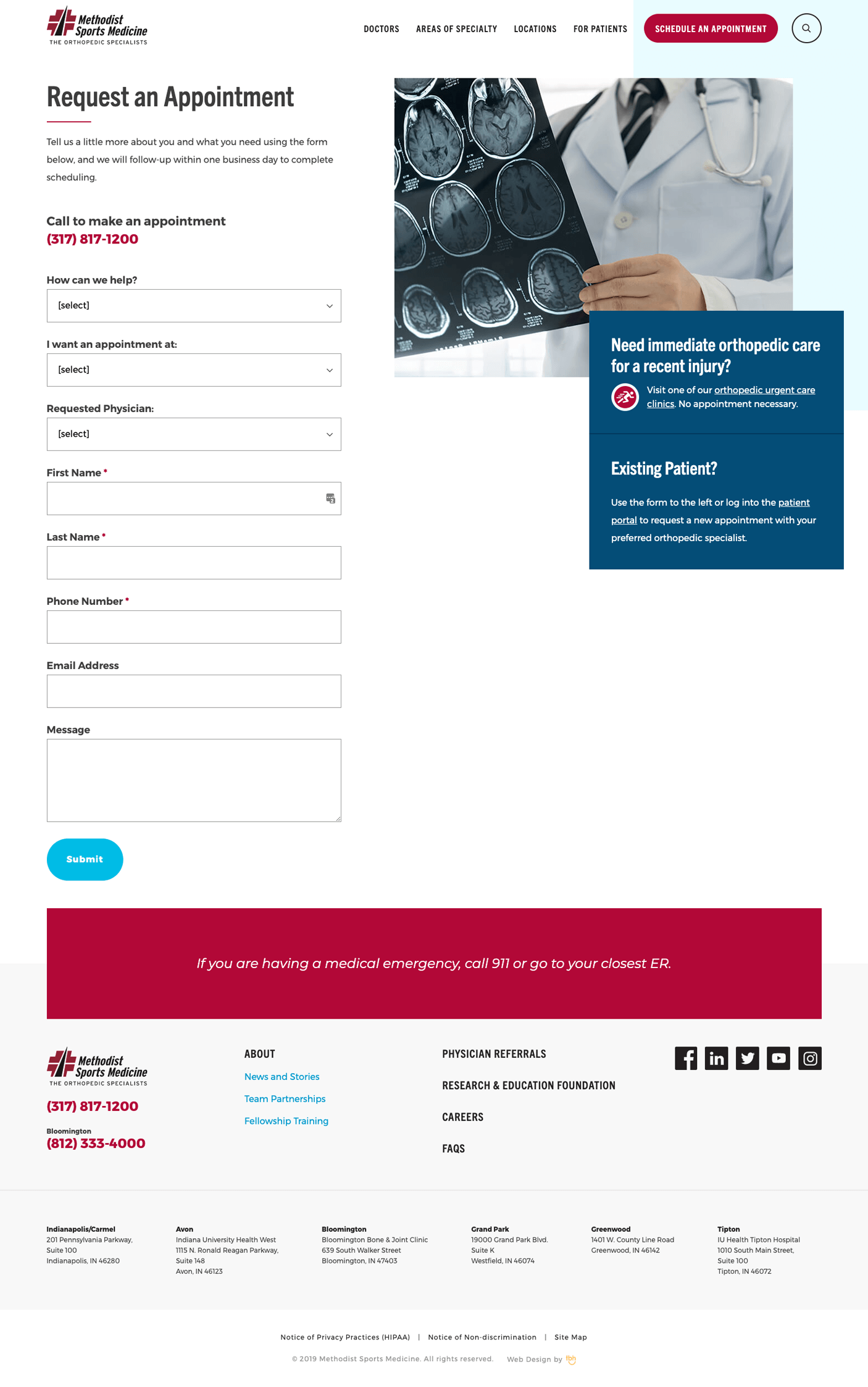 Request an Appointment form web page
