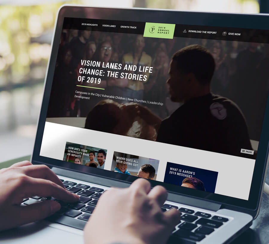 A user views the 2019 Traders Point Christian Church annual report online