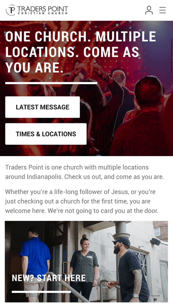 Traders Point Christian Church homepage mobile web design