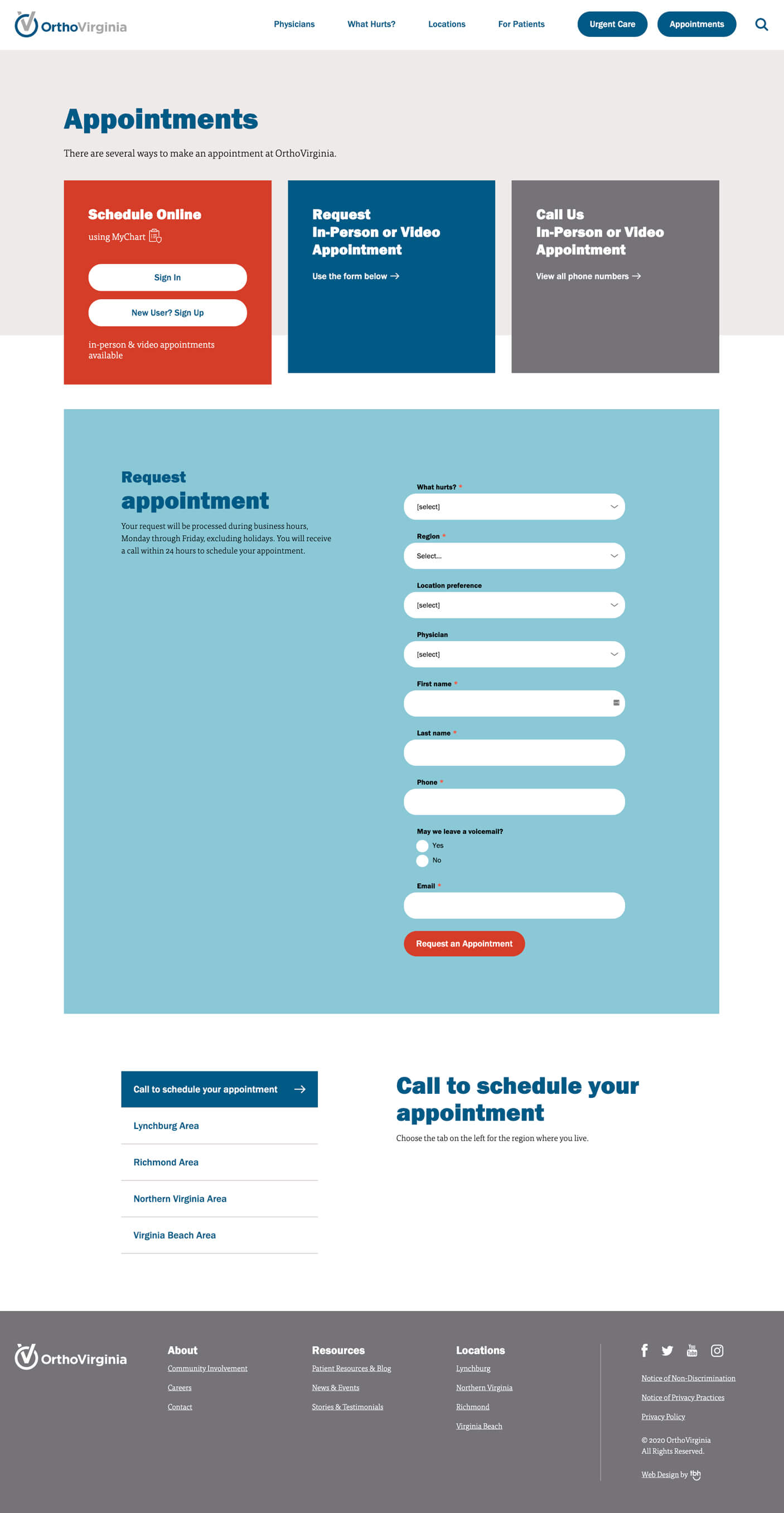 Online Appointment Request Form web page