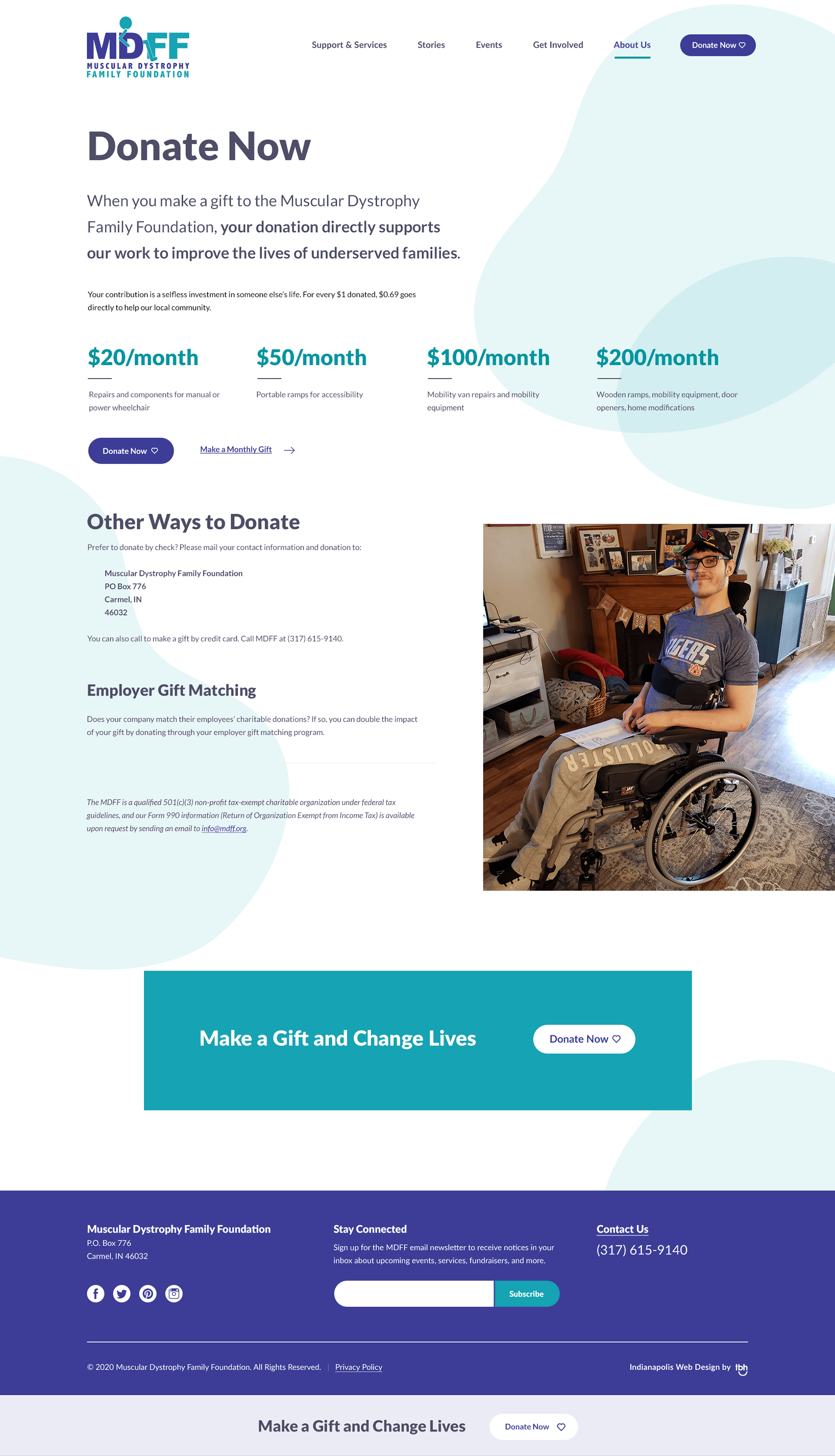 Muscular Dystrophy Family Foundation donate now web design