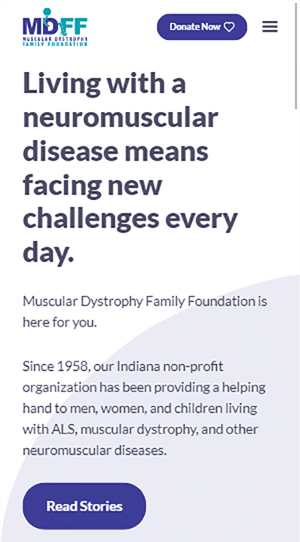 Muscular Dystrophy Family Foundation homepage mobile web design