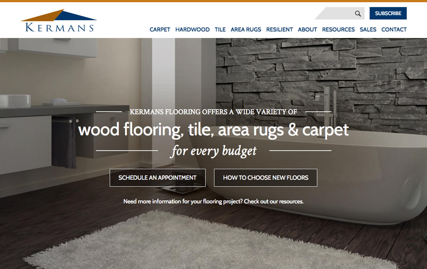 Kermans Flooring desktop homepage web design