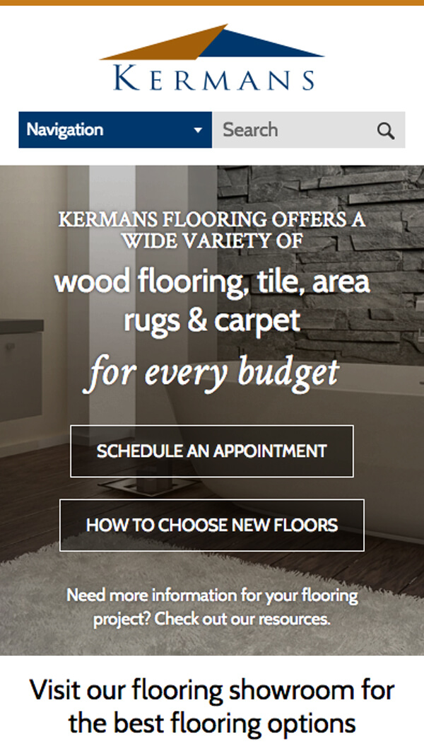 Kermans Flooring homepage mobile web design