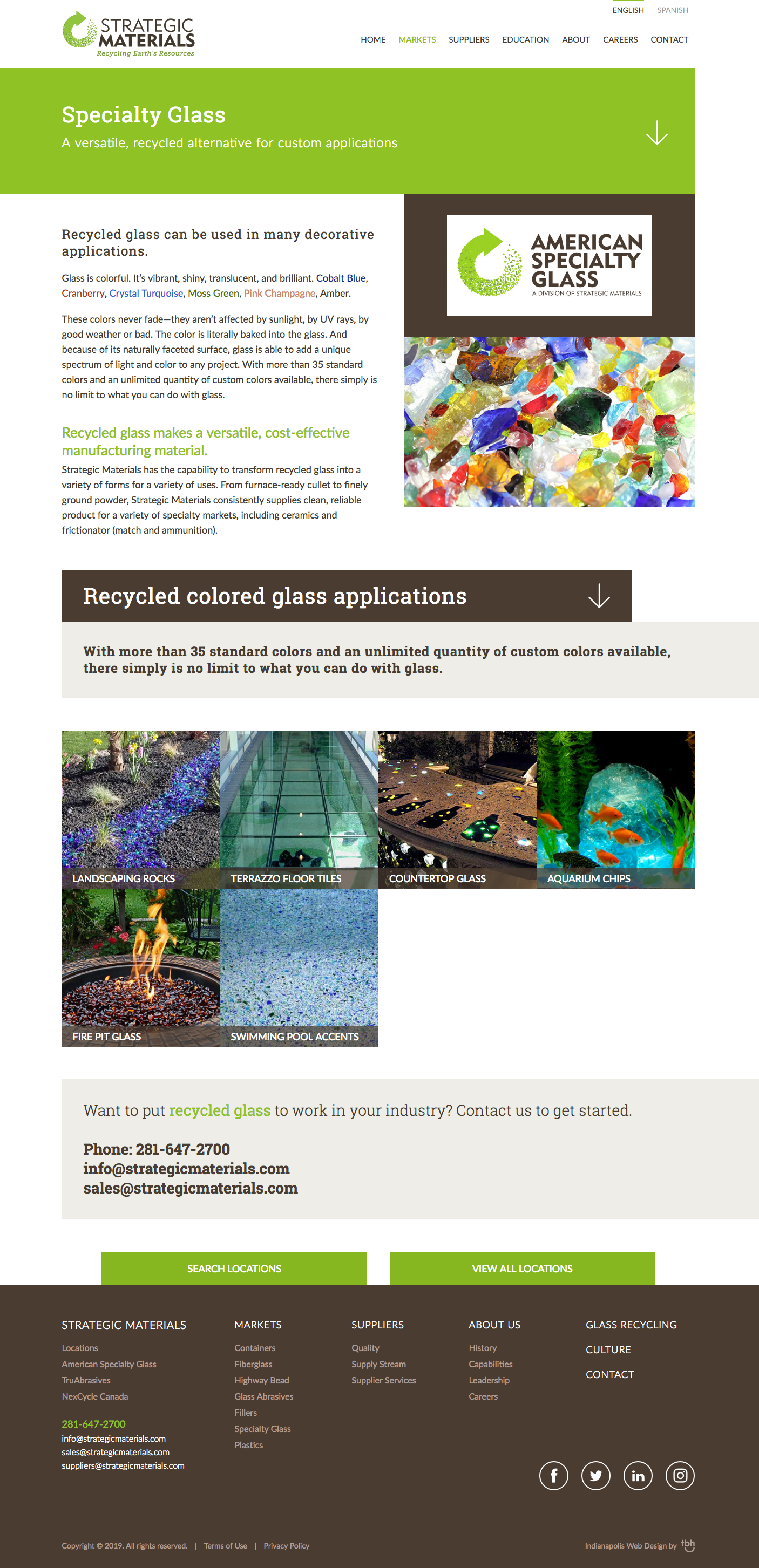 Specialty Glass web page