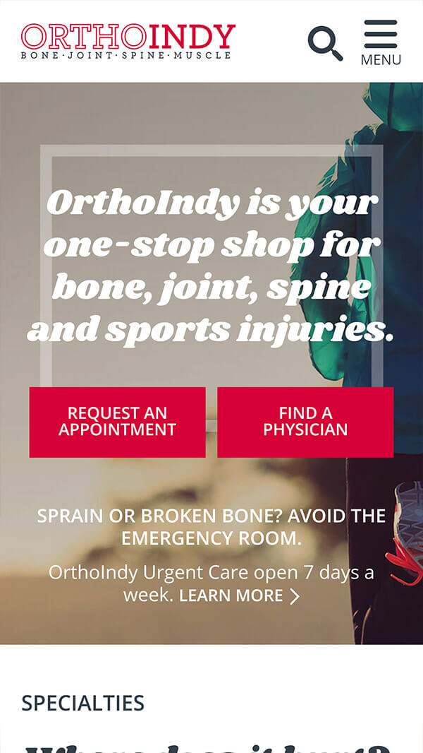 Mobile view of OrthoIndy website