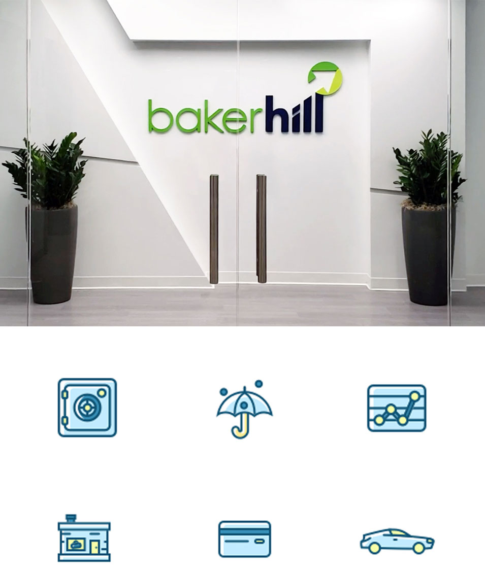 Baker Hill welcomes guests to its Carmel headquarters with a three-dimensional logo sign (top); custom icons for Baker Hill's website