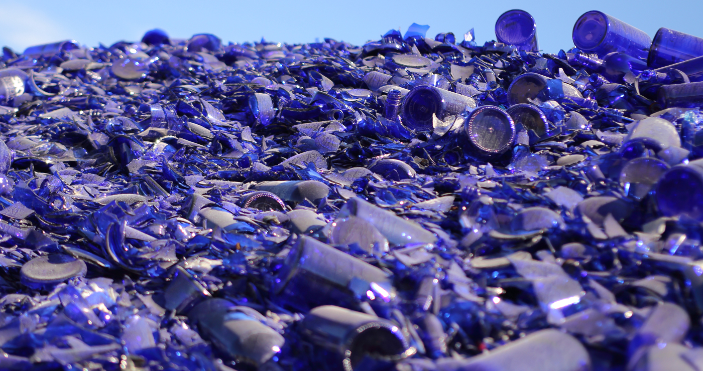 Custom photo of blue glass for recycling
